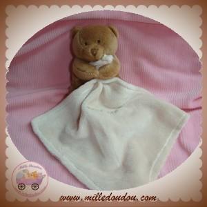 BABYNAT BABY NAT SOS DOUDOU OURS VELOURS MARRON FONCE MOUCHOIR