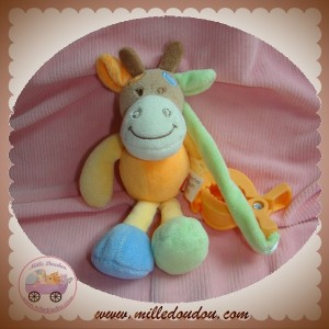 TEX SOS DOUDOU VACHE GIRAFE ORANGE PINCE BRUIT