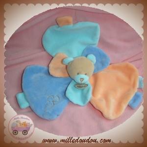 BABYNAT BABY NAT SOS DOUDOU OURS PLAT BLEU ORANGE PETALE FLEUR