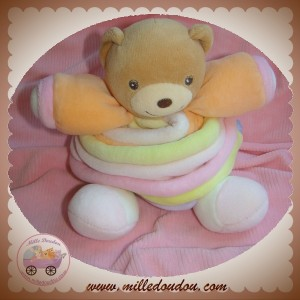 KALOO DOUDOU OURS CANDY PASTEL ORANGE BLANC VIOLET ROSE SOS