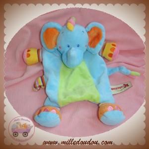 NICOTOY SOS DOUDOU ELEPHANT PLAT BLEU VERT ATTACHE TETINE