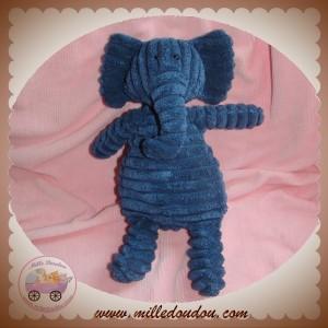 JELLYCAT SOS DOUDOU ELEPHANT BLEU COTELE 25 CM