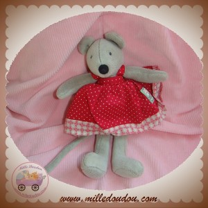 MOULIN ROTY SOS DOUDOU SOURIS GRISE ROBE ROUGE A POIS 20 cm