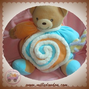 KALOO SOS DOUDOU OURS BOULE ORANGE BLEU SPIRALE LOLLIES
