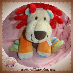 HAPPY HORSE SOS DOUDOU LION ORANGE GRIS ROUGE LAINE