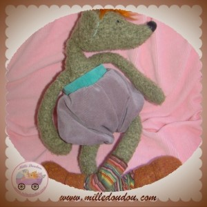 MOULIN ROTY SOS DOUDOU SOURIS POIL MARRON SORT VIOLET MOUSE MOUSSE