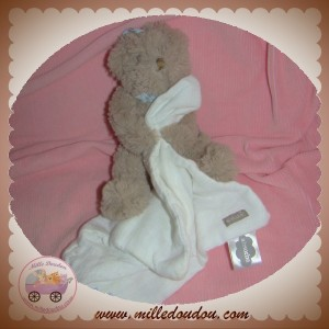 ABSORBA SOS DOUDOU OURS BEIGE TAUPE MOUCHOIR BLANC