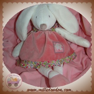 MOULIN ROTY SOS DOUDOU LAPIN MYRTILLE ET CAPUCINE BLANC ROBE ROSE