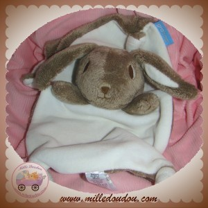 GRO GROUP BAG SOS DOUDOU LAPIN PLAT MARRON BLANC NOEUD