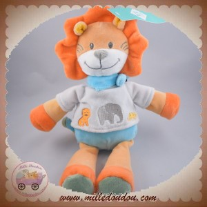 TEX SOS DOUDOU LION ORANGE TSHIRT GRIS ELEPHANT CORPS BLEU