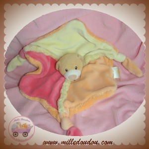 BABY LUNA SOS DOUDOU OURS PLAT ORANGE JAUNE ROSE NOEUD