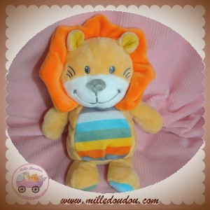 TEX SOS DOUDOU LION JAUNE CRINIERE ORANGE RAYE 16 CM
