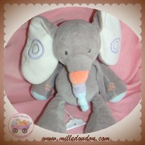 NATTOU SOS DOUDOU ELEPHANT GRIS BLEU BUBBLES MUSICAL 24 CM