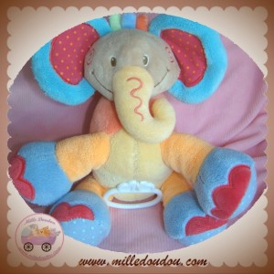 NATTOU SOS DOUDOU ELEPHANT OASIS ORANGE BLEU ROSE MUSICAL