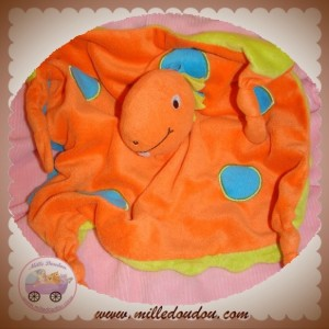 CARREBLANC SOS DOUDOU DRAGON PLAT ORANGE ROND BLEU DOS VERT