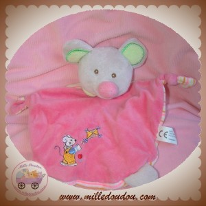 MAXITA SOS DOUDOU SOURIS PLAT ROSE  RAYE ORANGE CERF VOLANT