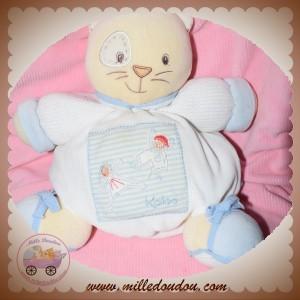 KALOO SOS DOUDOU CHAT BOULE BLANC RAYE BLEU ENFANT 27 CM
