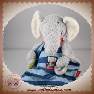 SIGIKID SOS DOUDOU ELEPHANT GRIS PLAT TISSU RAYE BLEU