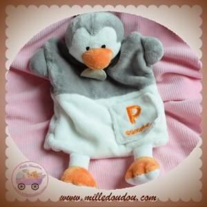 BABYNAT BABY NAT SOS DOUDOU PINGOUIN GRIS BLANC MARIONNETTE P COMME