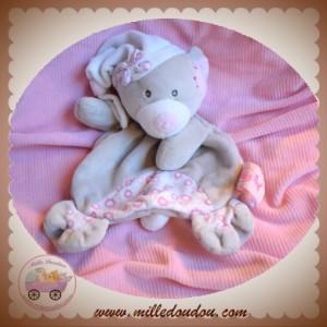 BABYNAT BABY NAT SOS DOUDOU OURS PLAT GRIS BONNET BLANC FLEUR ROSE
