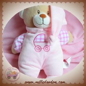 MGM DODO D'AMOUR SOS DOUDOU OURS BEIGE CORPS ROSE POUSSETTE