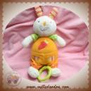 BABYSUN SOS DOUDOU LAPIN ECRU SALOPETTE ORANGE CAROTTE MUSICAL BABY SUN 20 cm