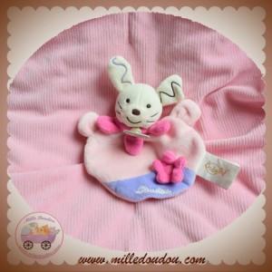 BABYNAT BABY NAT SOS DOUDOU LAPIN ECRU PLAT ROSE FLEUR