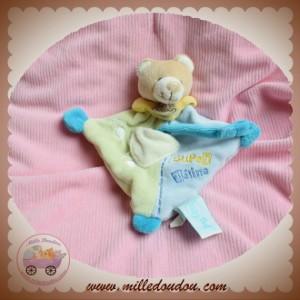 BABYNAT BABY NAT SOS DOUDOU OURS BEIGE PLAT LOSANGE BLEU VERT SUPER TETINE