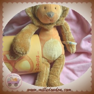 MOULIN ROTY SOS DOUDOU GROU LION LES ZAZOUS MARRON ORANGE 34 CM