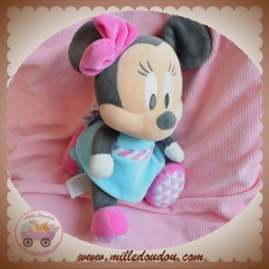DISNEY SOS DOUDOU SOURIS MINNIE ROBE BLEU MUSICAL COEUR ROSE