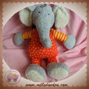 SIGIKID SOS DOUDOU ELEPHANT GRIS ROUGE RAYE JAUNE