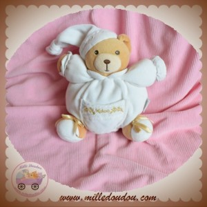 KALOO SOS DOUDOU OURS BEIGE BOULE BLANC FLEURS BRODERIE OR