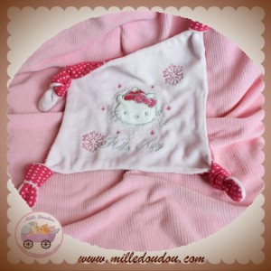 SOS SOS DOUDOU CHAT MOUCHOIR PLAT ROSE HIVER FLOCON HELLO KITTY NOEUD