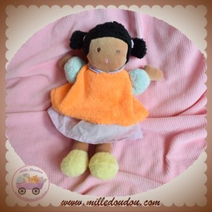 NOUNOURS SOS DOUDOU POUPEE MARRON ROBE ORANGE VIOLET