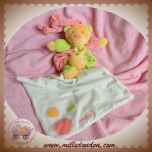 BABYSUN SOS DOUDOU OURS ORANGE JAUNE VERT ROSE MOUCHOIR