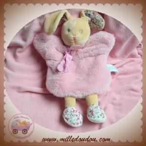 BABYNAT BABY NAT SOS DOUDOU LAPIN MARIONNETTE ROSE FLEURS