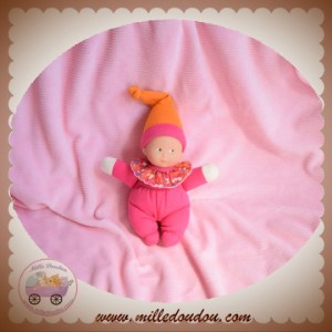 COROLLE SOS DOUDOU POUPEE ROSE ROUGE MINIREVE BONNET ORANGE
