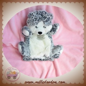 HISTOIRE D'OURS SOS DOUDOU OURS MARIONNETTE GRIS CHINE BLANC HUSKY ANIMOOS