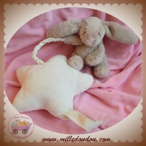 JELLYCAT SOS DOUDOU LAPIN TAUPE GRIS ETOILE BLANCHE MUSICAL
