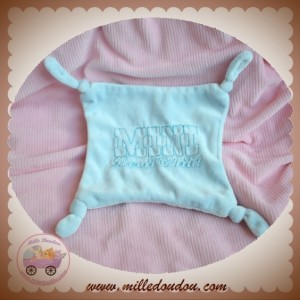 SOS DOUDOU MOUCHOIR PLAT BLEU MINI DEVIL CHILD NOEUD