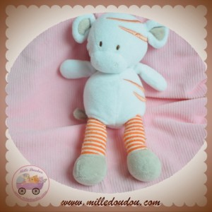 DIVERS SOS DOUDOU COCHON BLANC JAMBES RAYEES ORANGE