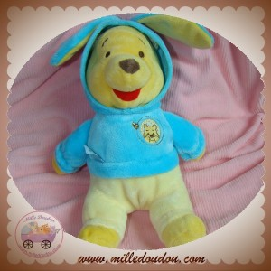 DISNEY SOS DOUDOU OURS WINNIE L'OURSON JAUNE DEGUISE SWEAT LAPIN BLEU