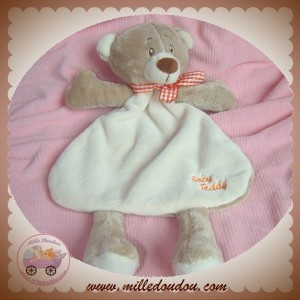SOS DOUDOU OURS PLAT ECRU DOS BEIGE ECHARPE VICHY ORANGE BABY TEDDY