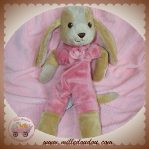 ANIMA SOS DOUDOU CHIEN MARRON PLAT ROSE ANIMADOO 32 cm