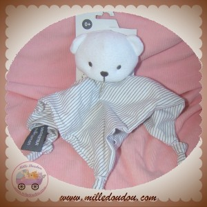 ORCHESTRA SOS DOUDOU OURS BLANC EPONGE PLAT RAYE GRIS CUDDLE TOYS