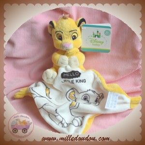 DISNEY SOS DOUDOU LION SIMBA JAUNE MOUCHOIR BLANC LITTLE KING