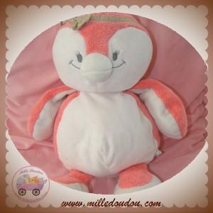 NOUKIE'S SOS DOUDOU PINGOUIN DAISY ROSE BLANC 40 cm