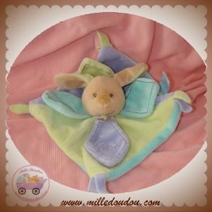 BABYNAT BABY NAT SOS DOUDOU LAPIN BEIGE PLAT VERT MAUVE GRIBOUILLIS