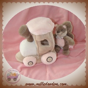 NOUKIE'S SOS DOUDOU ECUREUIL LEONTINE TIDOU ROSE TAUPE TRAIN MUSICAL