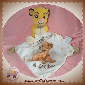 DISNEY SOS DOUDOU LION SIMBA JAUNE MOUCHOIR BLANC TAKE CARE